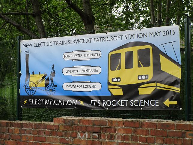 Electric Trains Banner at PATricroft station